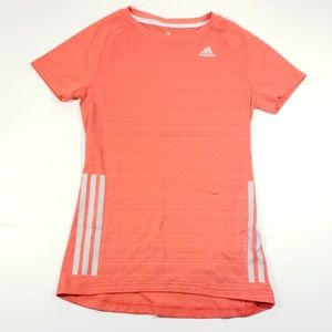ADIDAS womens red and Gray stripe t shirt small